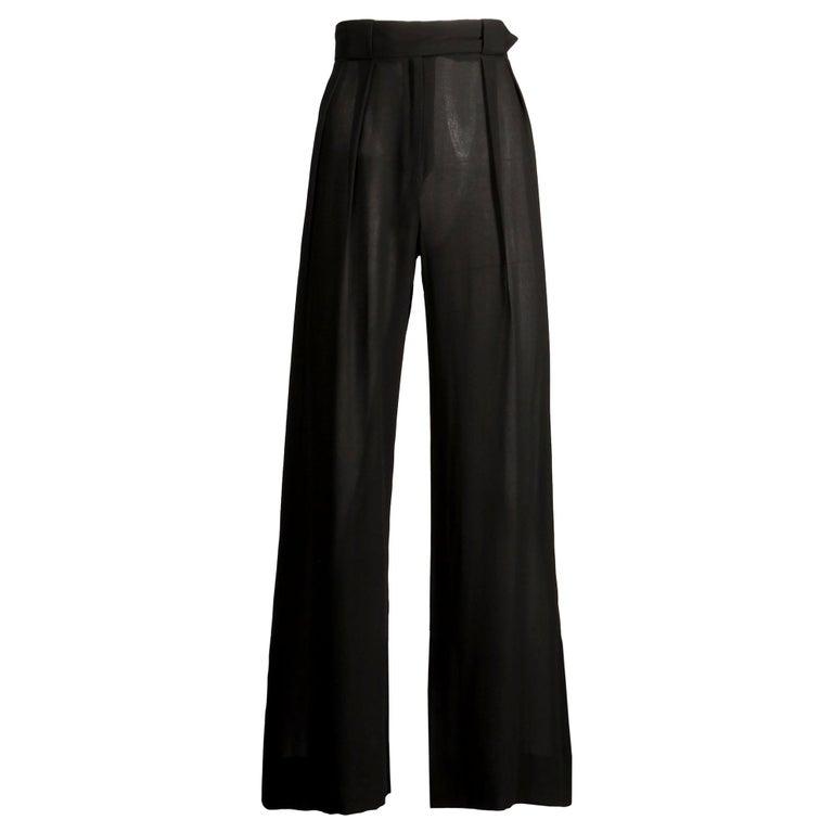 1970s Cardinali Vintage Sheer Black Silk Palazzo Pants For Sale