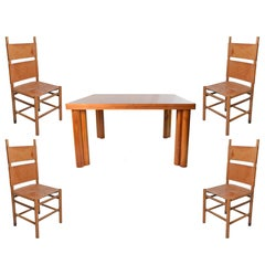 1970s Carlo Scarpa Walnut Wood Scuderia Table and Kentucky Chairs for Bernini
