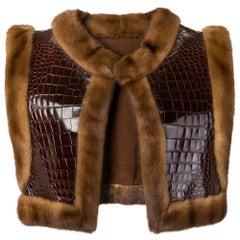 1970s Carlo Tivioli Leather And Fur Vest