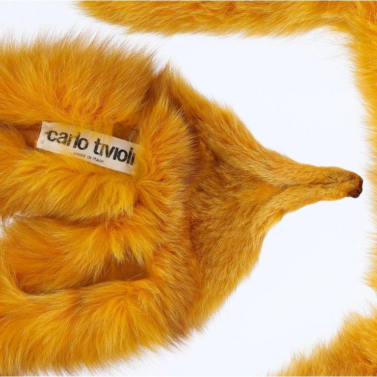 1970s Carlo Tivioli Saffron Yellow Fox Fur Scarf In Excellent Condition For Sale In Lugo (RA), IT