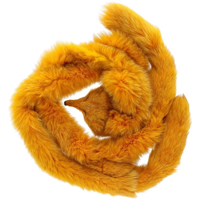 1970s Carlo Tivioli Saffron Yellow Fox Fur Scarf For Sale