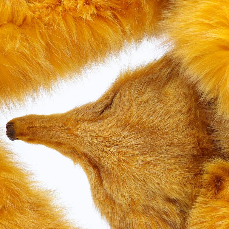 Carlo Tivioli scarf in saffron yellow real fox fur, made of two fox joined together, with tails at the ends and a muzzle. 70s vintage, Made in Italy, in perfect conditions.  Please note this item cannot be shipped outside the European Union.  Scarf