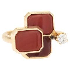 1970s Carnelian Diamond Cocktail Ring Vintage 14 Karat Yellow Gold