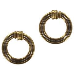 1970s Cartier 18 Karat Tri-Color Gold Large Circle Vintage Earrings