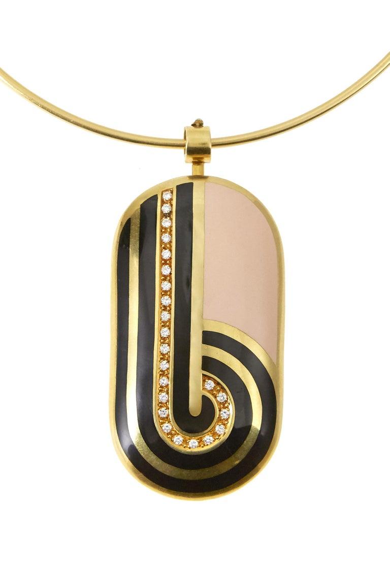 Modern 1970s Cartier Diamond Enamel Gold Pendant and Ear Clip Set For Sale