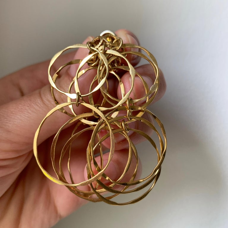 Modernist 1970s Cartier Gold Cascade Circular Link Earrings For Sale