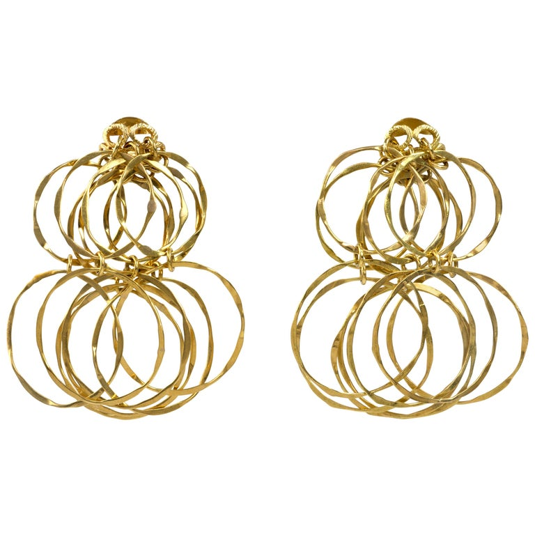 1970s Cartier Gold Cascade Circular Link Earrings For Sale