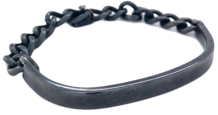 1970s Cartier Oxidized Sterling Silver ID Bracelet For Sale 2