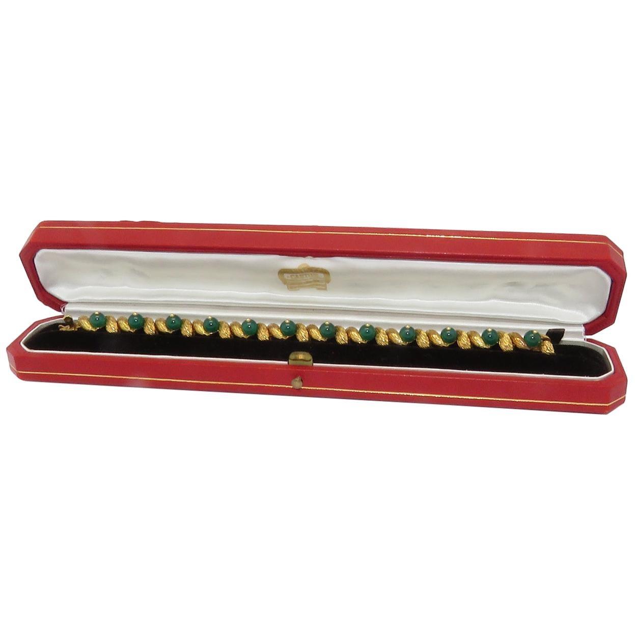 1970s Cartier Paris Green Agate Link Bracelet