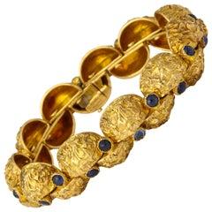 1970s Cartier Paris Sapphire Gold Modernist Bracelet