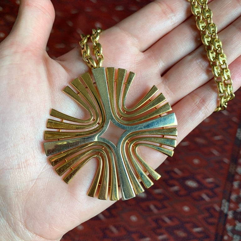1970s Cartier Paris White and Yellow Gold Maltese Cross Pendant In Excellent Condition In New York, NY