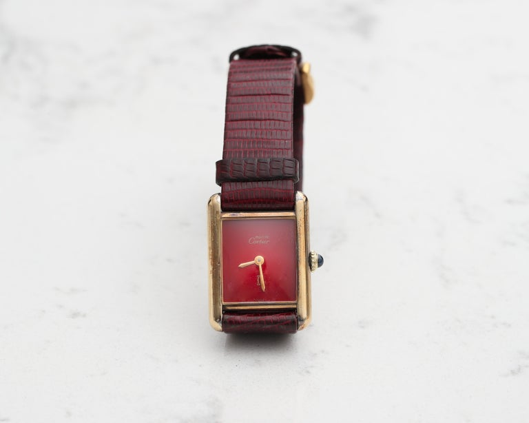 Retro 1970s Cartier Tank Vermeil Wristwatch with Maroon Dial For Sale