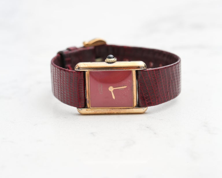 1970s Cartier Tank Vermeil Wristwatch with Maroon Dial In Good Condition For Sale In New York, NY