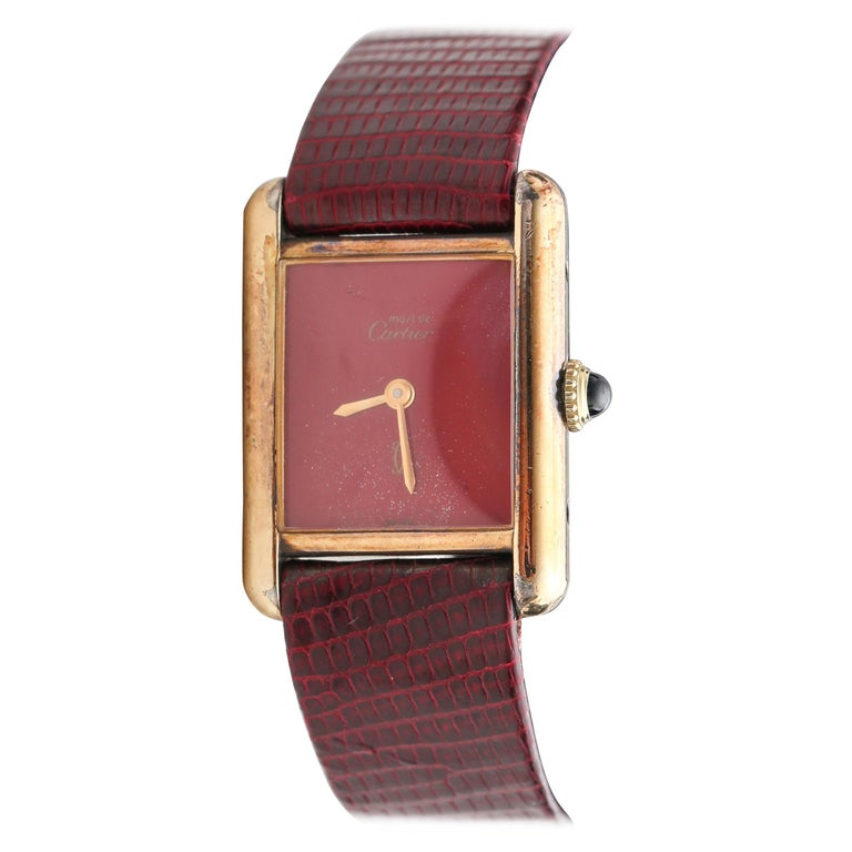 1970s Cartier Tank Vermeil Wristwatch with Maroon Dial For Sale