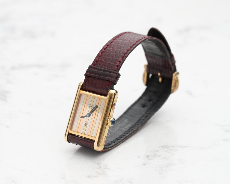Retro 1970s Cartier Vermeil Tank with Tricolored Gold Dial For Sale