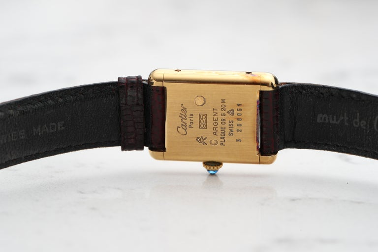 1970s Cartier Vermeil Tank with Tricolored Gold Dial For Sale 1