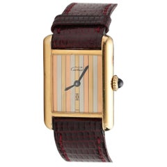 1970s Cartier Vermeil Tank with Tricolored Gold Dial
