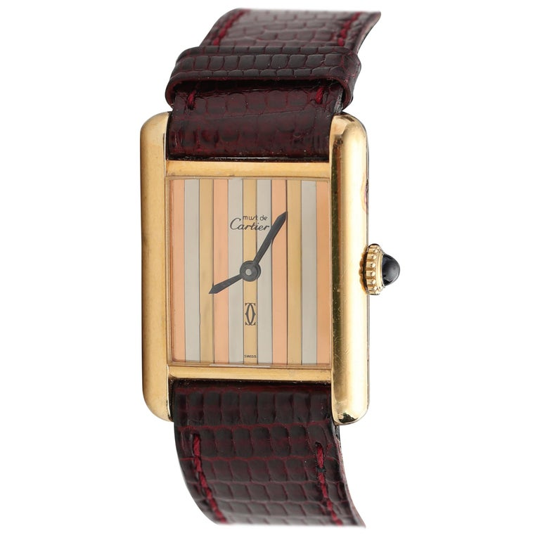 1970s Cartier Vermeil Tank with Tricolored Gold Dial For Sale