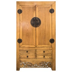 1970's Carved Elm Wood Chinese Wardrobe
