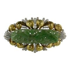 1970s Carved Jade Gold and Diamond Brooch