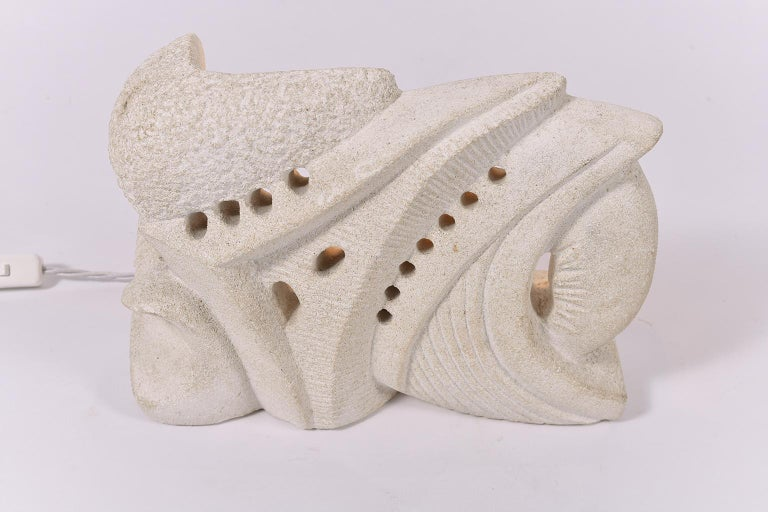 1970s Carved Limestone Sculptural Lamp For Sale 1