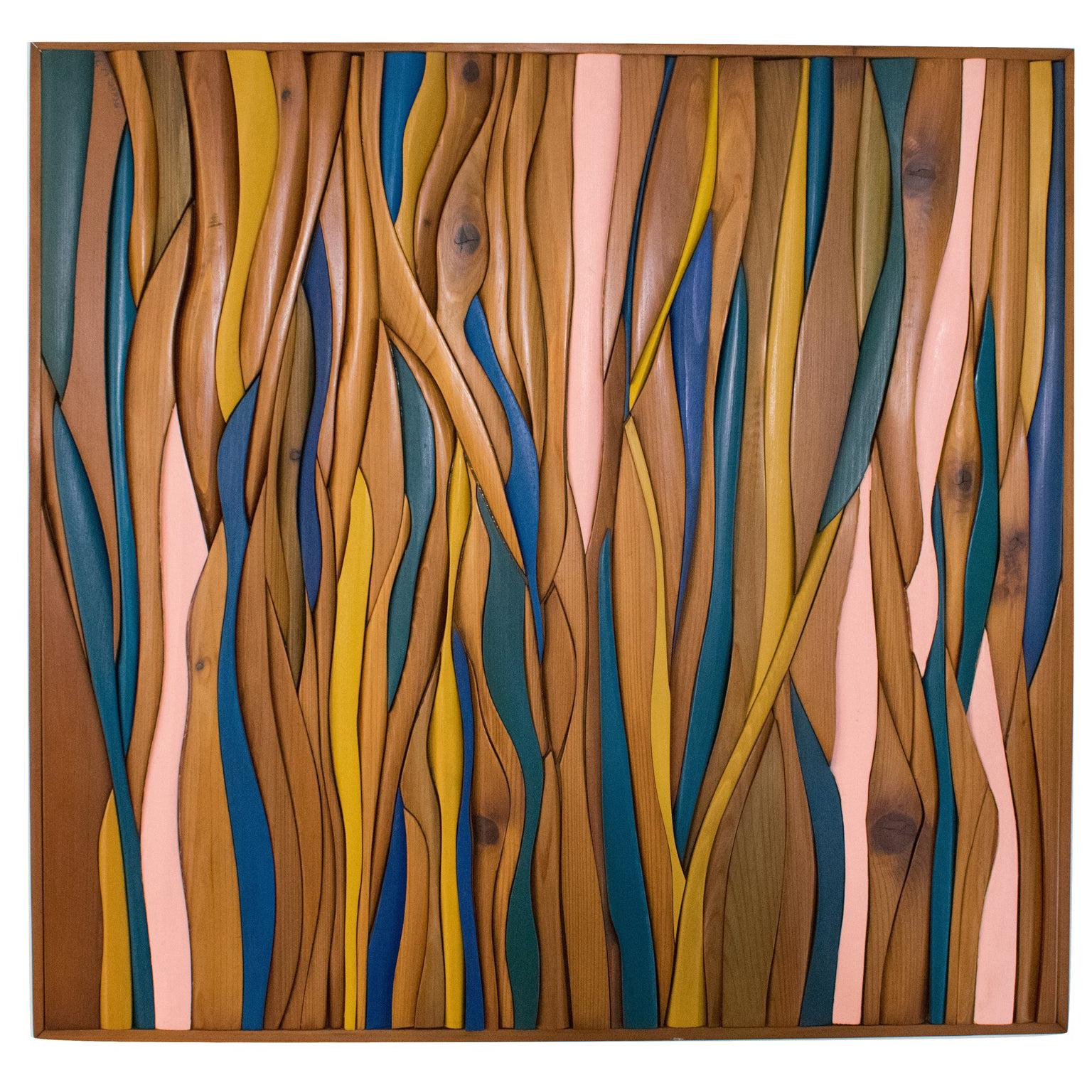 1970s Carved Wood Abstract Mosaic Wall Sculpture Panel by Blair York