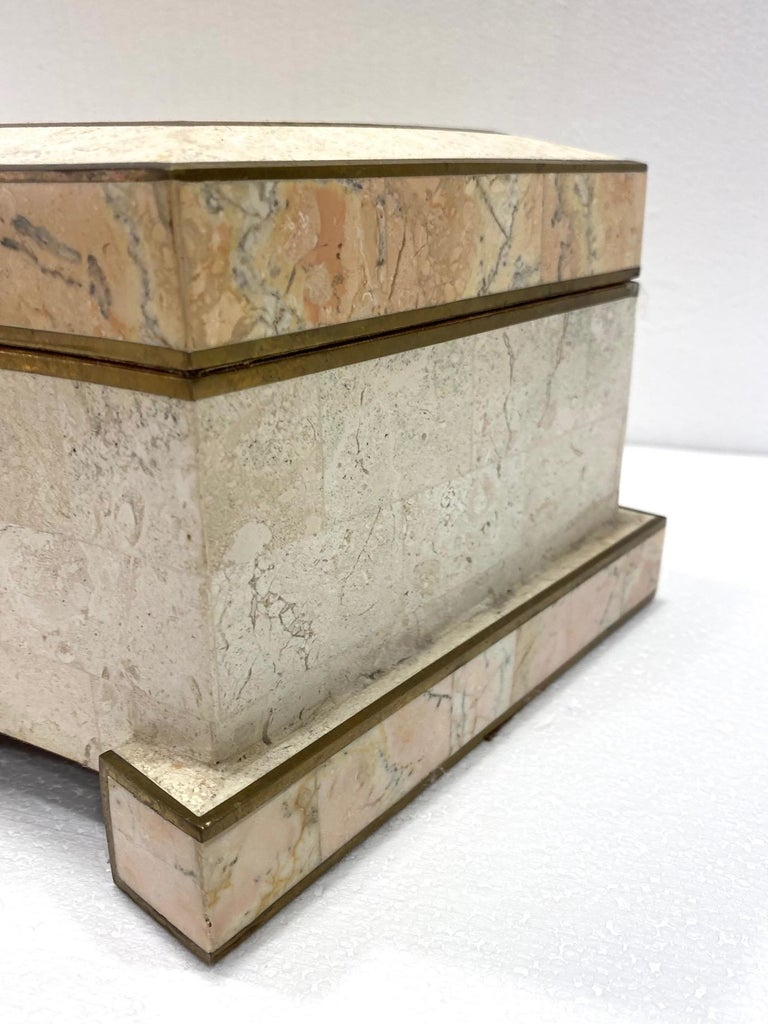 1970s Casa Bique Tessellated Stone and Brass Architectural Decorative Box For Sale 3