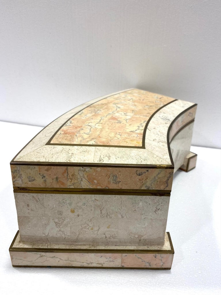 Philippine 1970s Casa Bique Tessellated Stone and Brass Architectural Decorative Box For Sale
