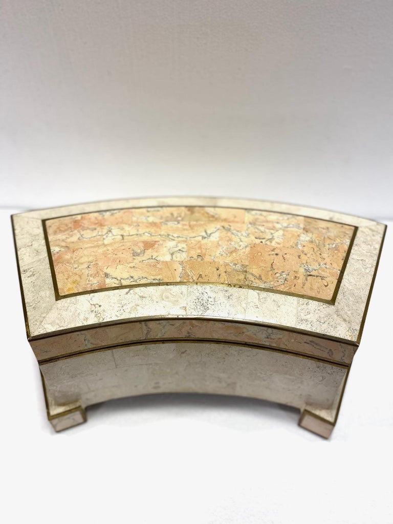 Hand-Crafted 1970s Casa Bique Tessellated Stone and Brass Architectural Decorative Box For Sale