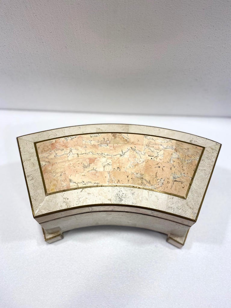 1970s Casa Bique Tessellated Stone and Brass Architectural Decorative Box For Sale 2