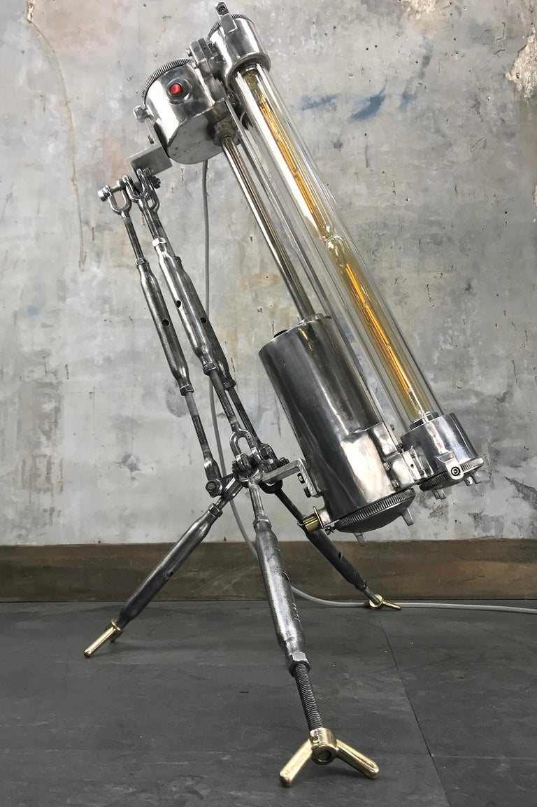 1970s Cast Aluminium and Steel Flame Proof Floor Lamp Tripod, Polished For Sale 5