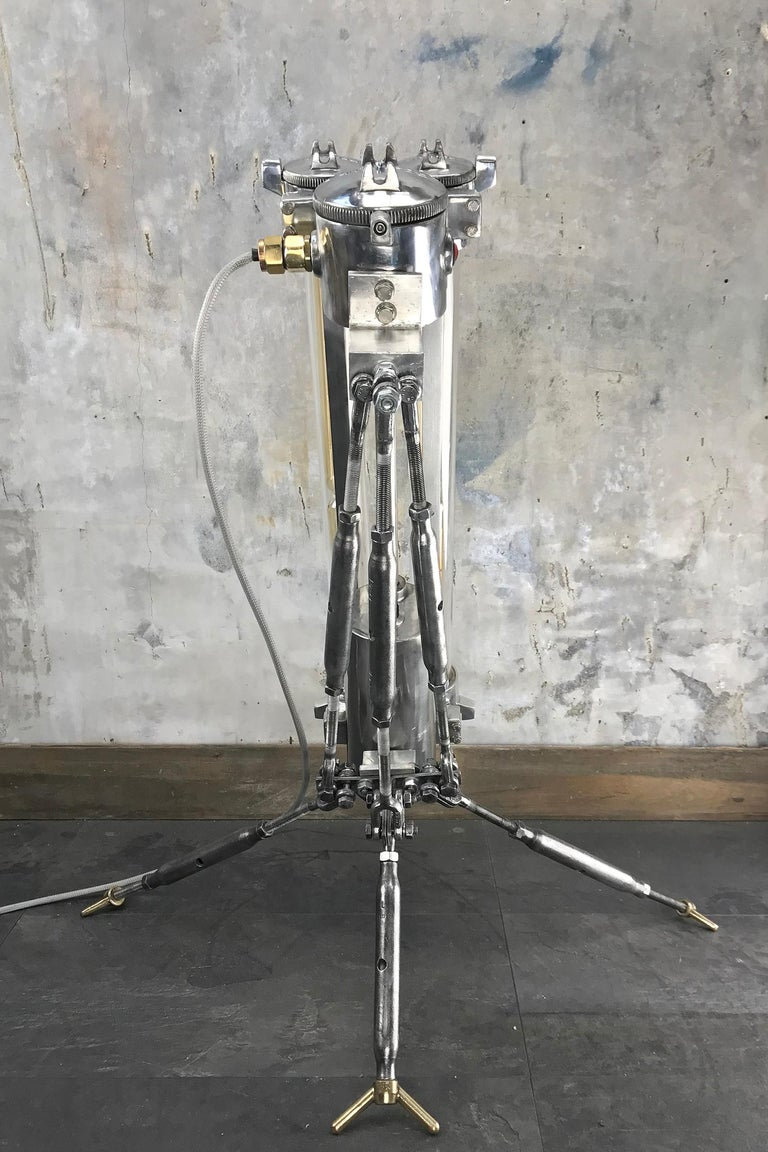 1970s Cast Aluminium and Steel Flame Proof Floor Lamp Tripod, Polished For Sale 9