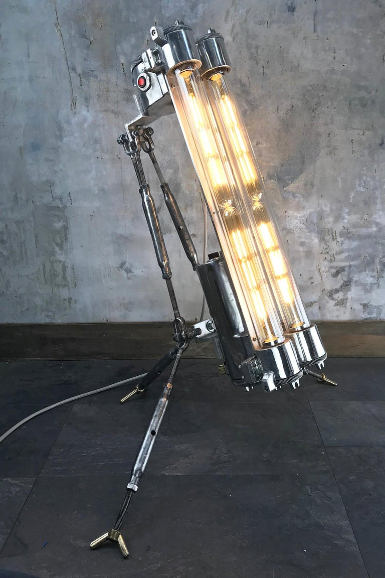 1970s Cast Aluminium and Steel Flame Proof Floor Lamp Tripod, Polished For Sale 11