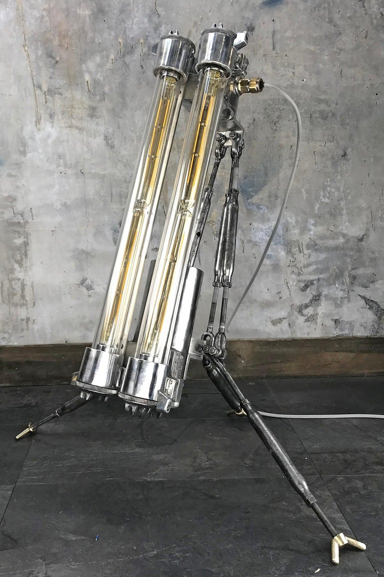 Industrial 1970s Cast Aluminium and Steel Flame Proof Floor Lamp Tripod, Polished For Sale
