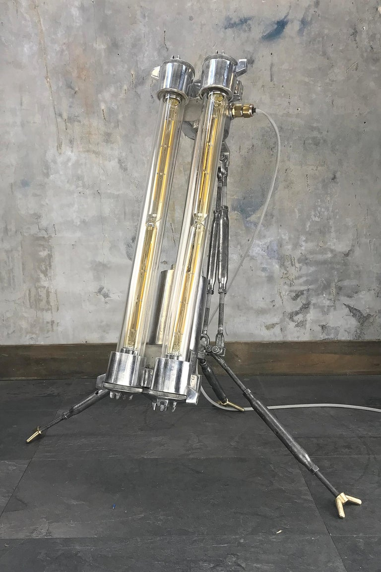 1970s Cast Aluminium and Steel Flame Proof Floor Lamp Tripod, Polished In Good Condition For Sale In Leicester, Leicestershire
