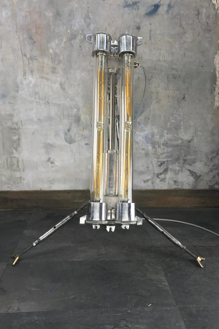 Late 20th Century 1970s Cast Aluminium and Steel Flame Proof Floor Lamp Tripod, Polished For Sale