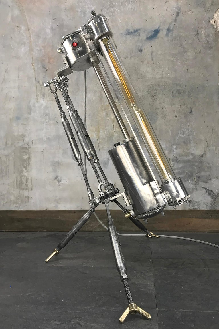 Aluminum 1970s Cast Aluminium and Steel Flame Proof Floor Lamp Tripod, Polished For Sale