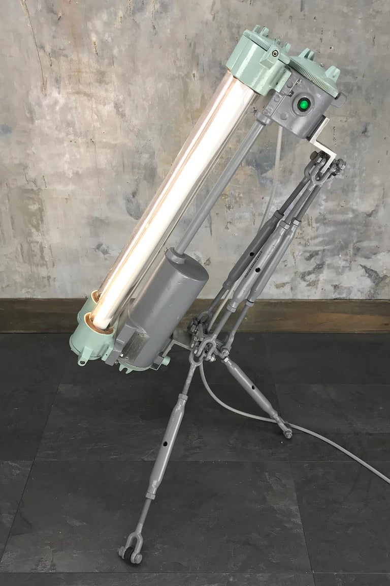 1970s Cast Aluminium & Steel Flame Proof Floor Lamp Tripod - Warm White T8 Led For Sale 7
