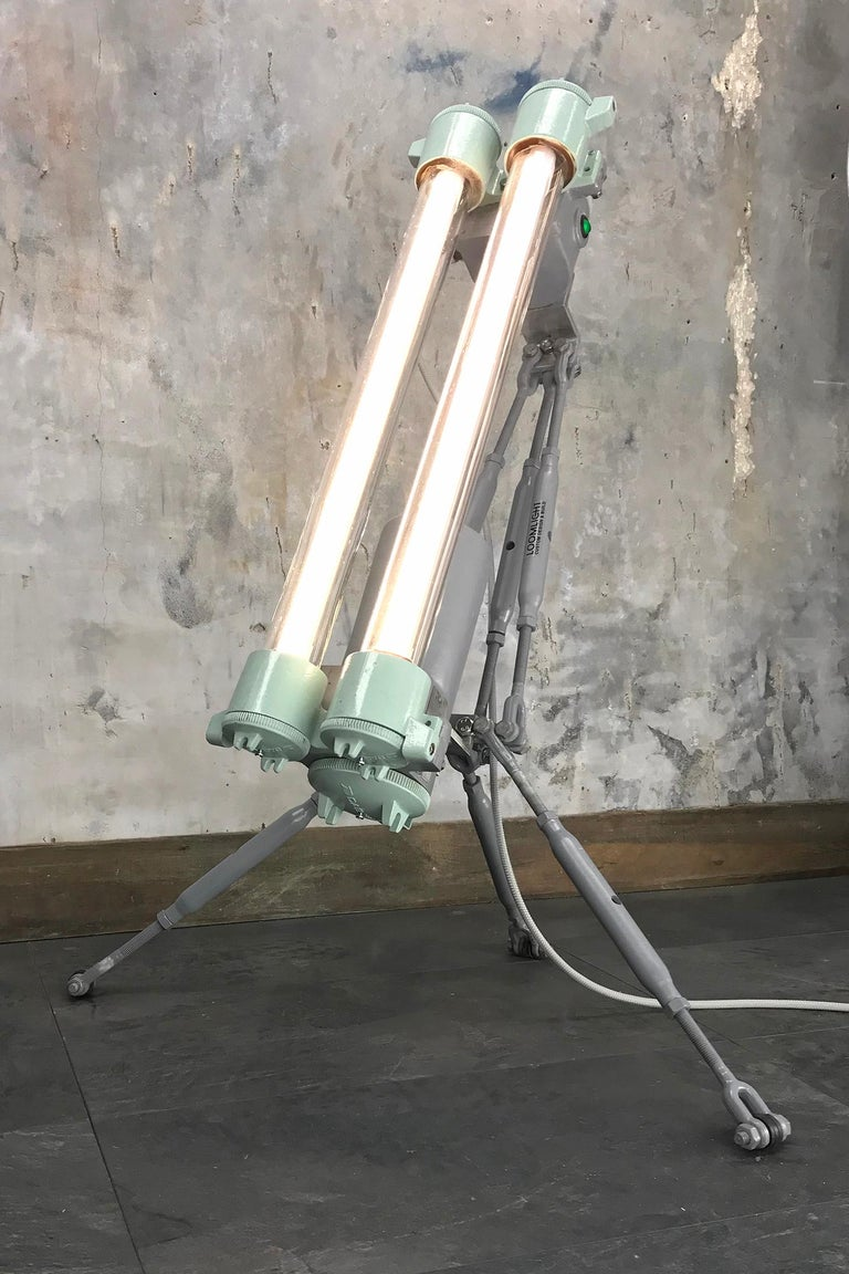 Industrial 1970s Cast Aluminium & Steel Flame Proof Floor Lamp Tripod - Warm White T8 Led For Sale