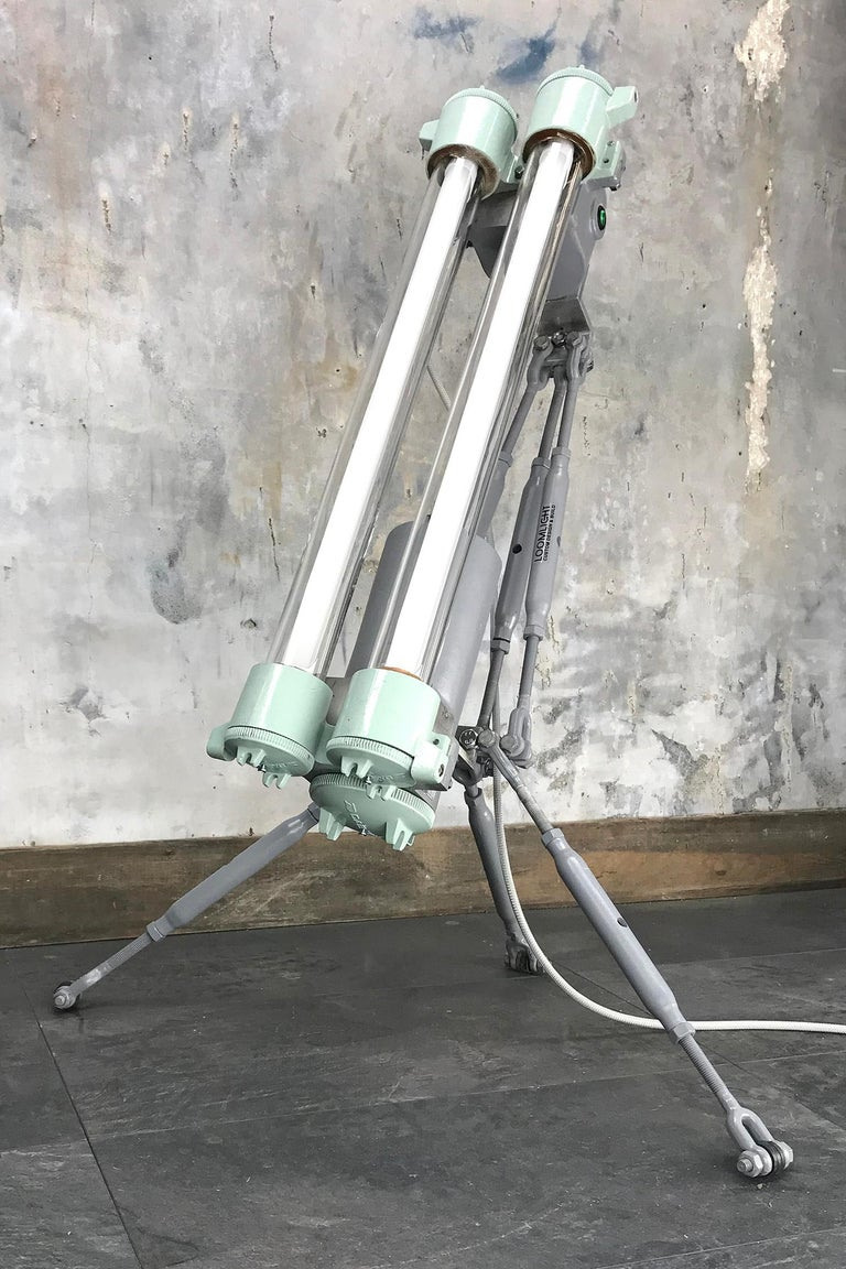 1970s Cast Aluminium & Steel Flame Proof Floor Lamp Tripod - Warm White T8 Led In Good Condition For Sale In Leicester, Leicestershire