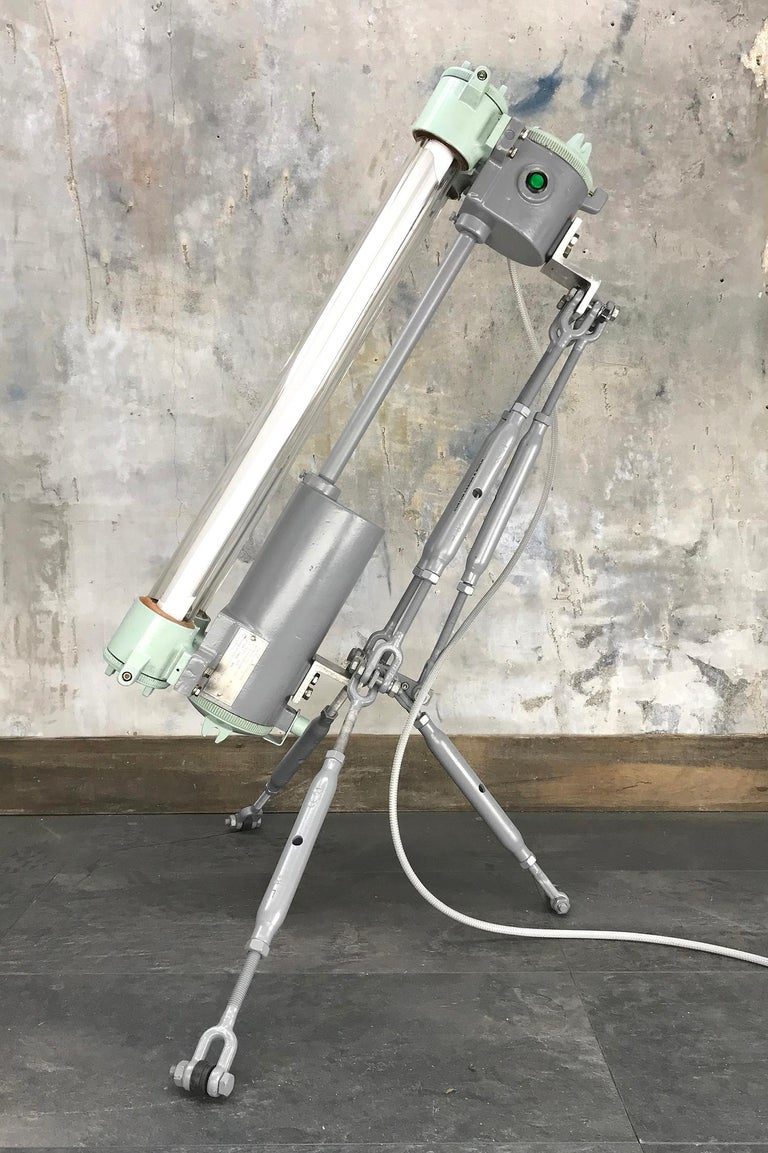 Late 20th Century 1970s Cast Aluminium & Steel Flame Proof Floor Lamp Tripod - Warm White T8 Led For Sale