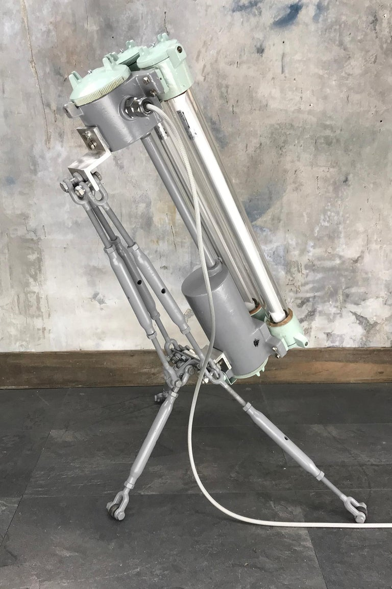 1970s Cast Aluminium & Steel Flame Proof Floor Lamp Tripod - Warm White T8 Led For Sale 2