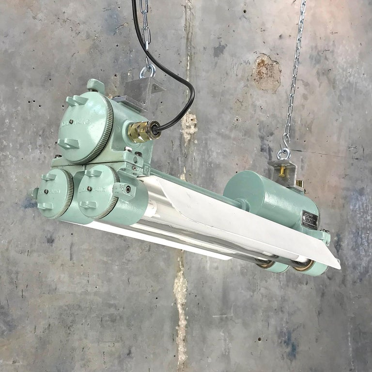 1970s Cast Aluminum, Brass and Glass Industrial Flame Proof LED Strip Light  For Sale 8