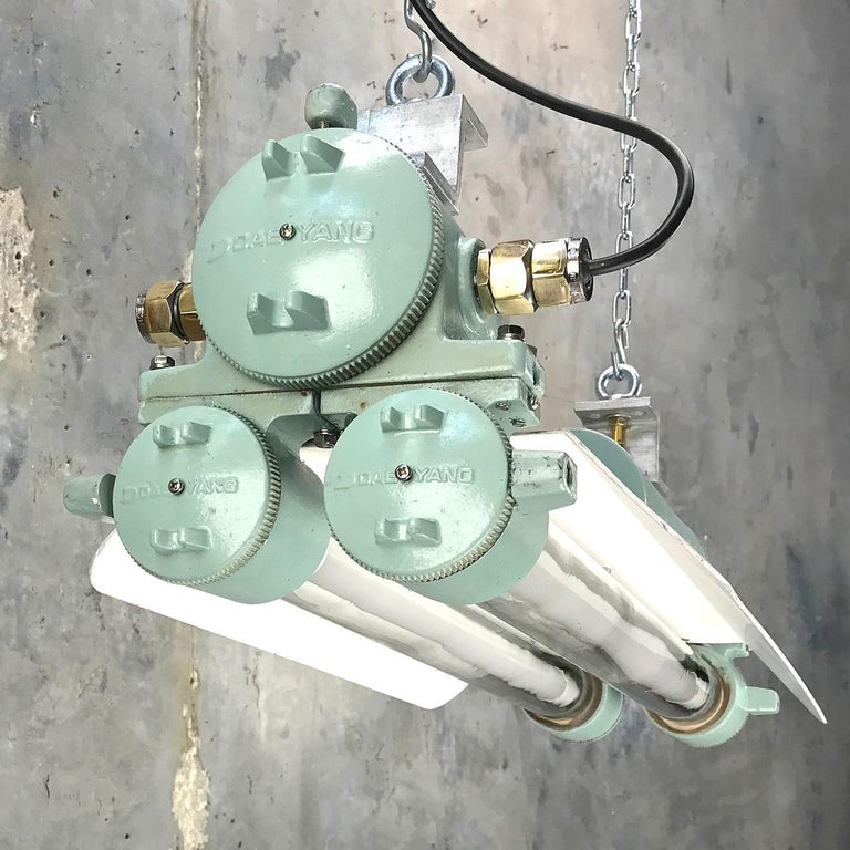 1970s Cast Aluminum, Brass and Glass Industrial Flame Proof LED Strip Light  For Sale 9