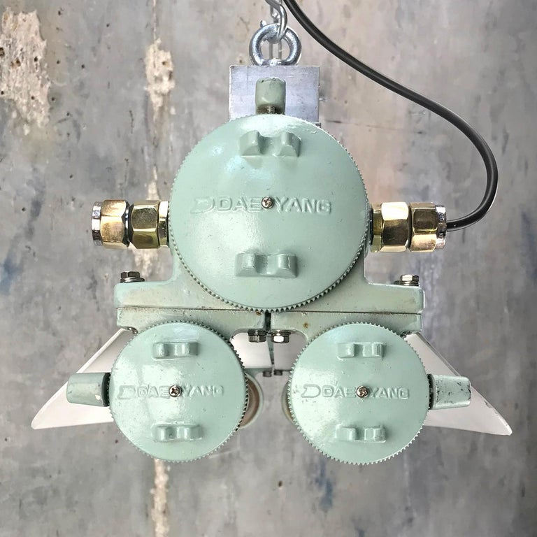 1970s Cast Aluminum, Brass and Glass Industrial Flame Proof LED Strip Light  For Sale 11