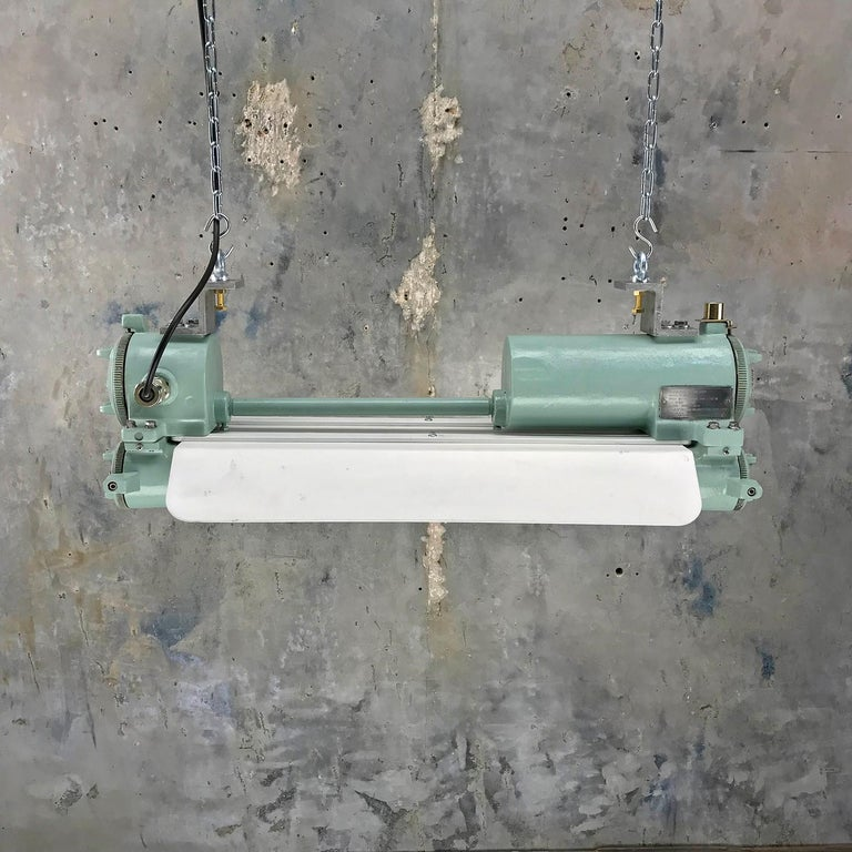 Korean 1970s Cast Aluminum, Brass and Glass Industrial Flame Proof LED Strip Light  For Sale