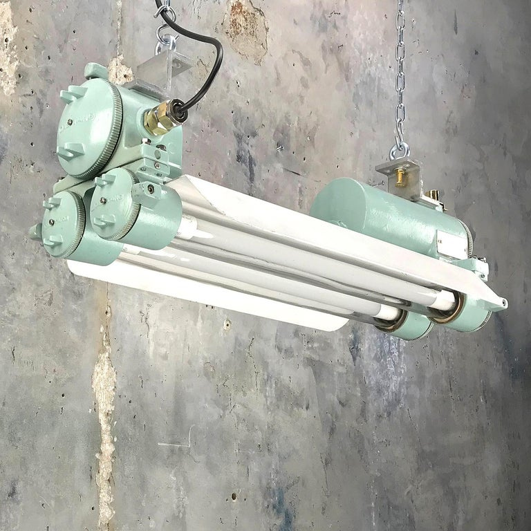 1970s Cast Aluminum, Brass and Glass Industrial Flame Proof LED Strip Light  For Sale 2