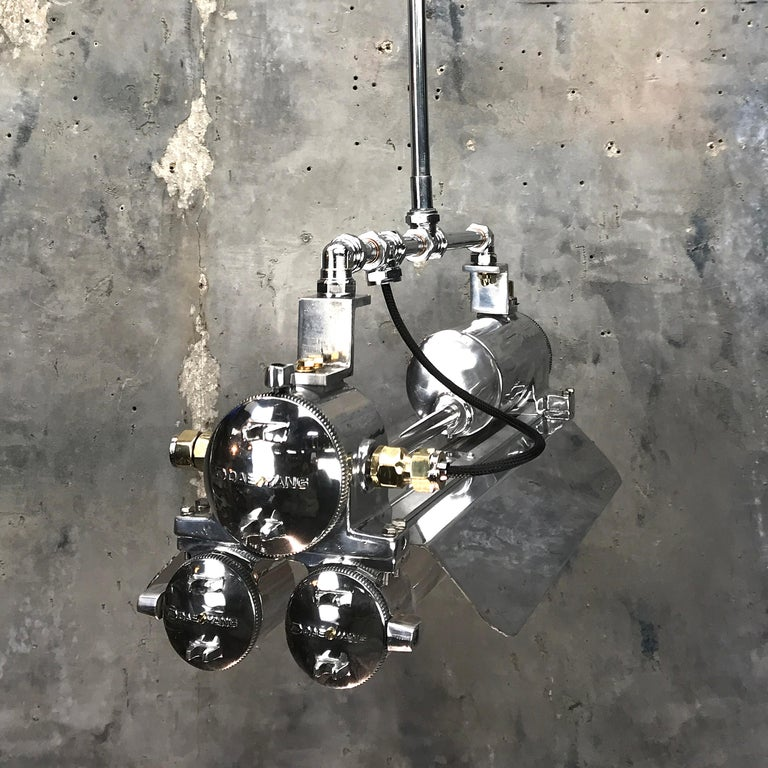 1970s Cast Aluminum, Brass and Glass Industrial Flameproof Striplight, Poli Noir For Sale 1