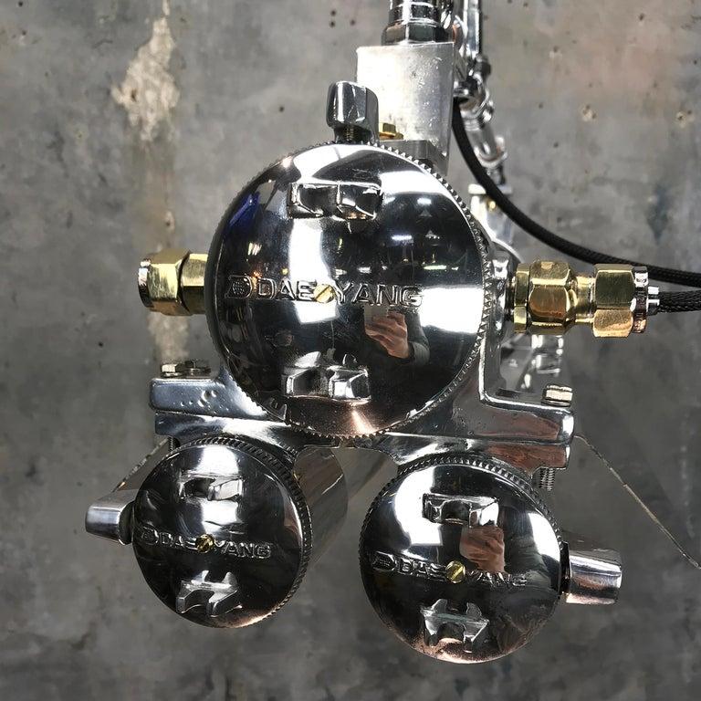 1970s Cast Aluminum, Brass and Glass Industrial Flameproof Striplight, Poli Noir For Sale 2