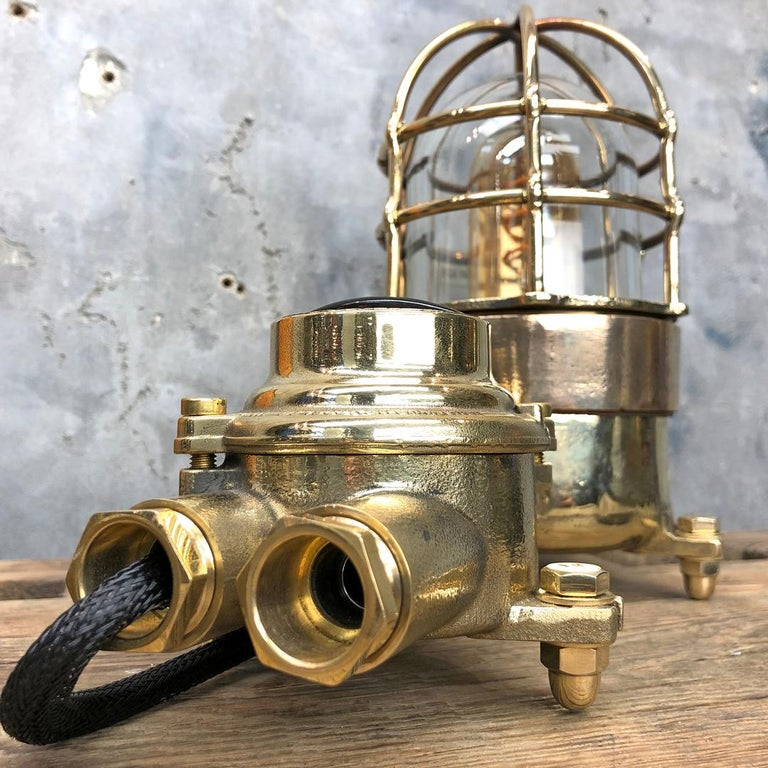 1970s Cast Brass and Bronze Explosion Proof Table Lamp with Isolator Switch For Sale 7